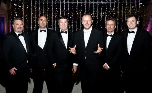 Irish wedding band in tux
